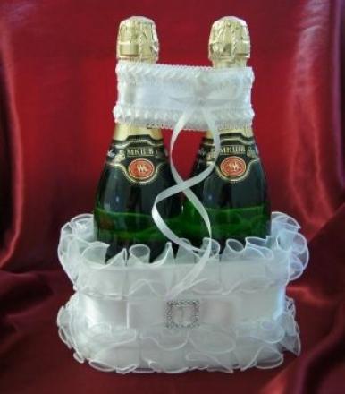 Как сделать  корзинки для шампанского на свадьбу