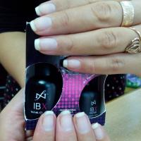 отрастили такую длину с помощью IBX системы, ногти  после длительного наращивания ногтей! Ногти крепкие  ровные!