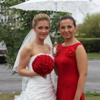 №126 Невеста Анна с подругой Ксенией.Букет невесты-шар из красных роз