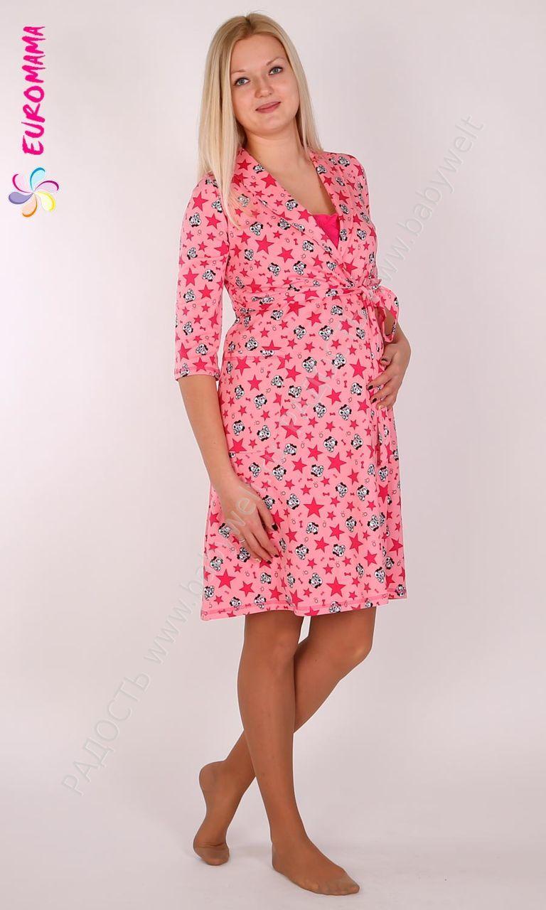 комплект хлопок:сорочка корзинкой, халат на запах, рукав 3/4.цвет розовый с рисунком р-р 58