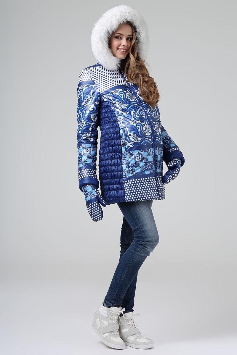 Куртка женская Размерный ряд: 46/50/52 Цвет: Синий Утеплитель: Термофинн+Синтепон Мех: Натуральный песец Цена:9200р.