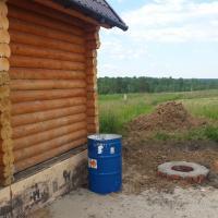 Устройство канализации и водоотведения из бани в септик в пос. Корнилово.(Окончательный этап работ)